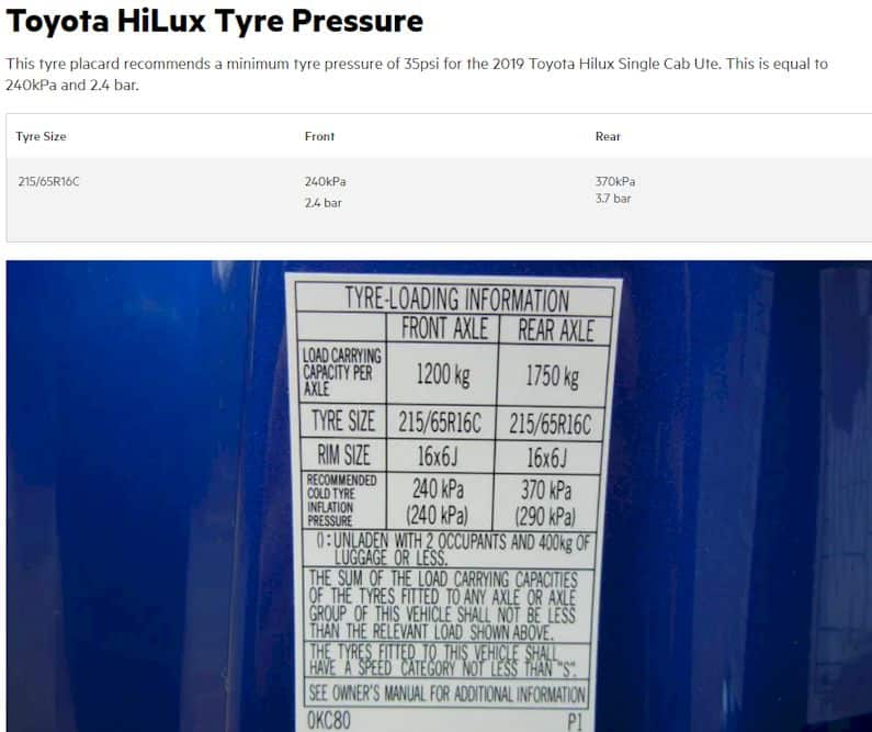 tire-loading guide of a Toyota Hilux
